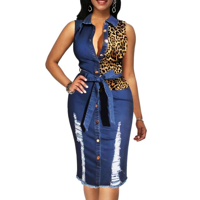 Leopard Patchwork Denim Midi Dress Women Sleeveless Turn Down Collar Office Lady Pencil Dresses Female Spring Summer Jeans Dress 2