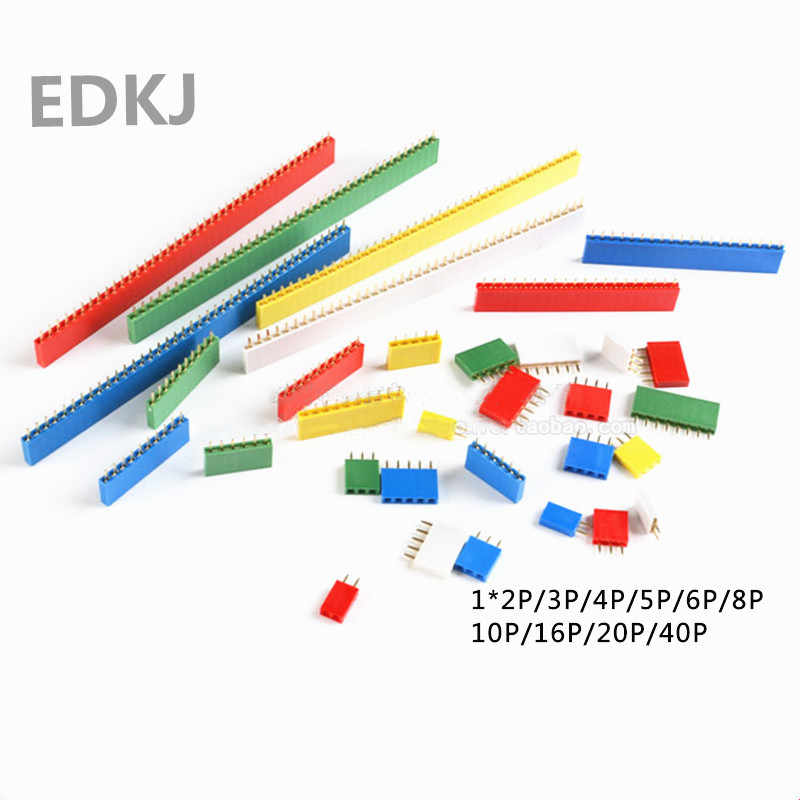 10PCS 2.54mm1x 2P 3 4 6 8 10 16 40P 1 pin Single Row Female PCB Board Pin Header Connector Strip Pinheader  Colourful socket