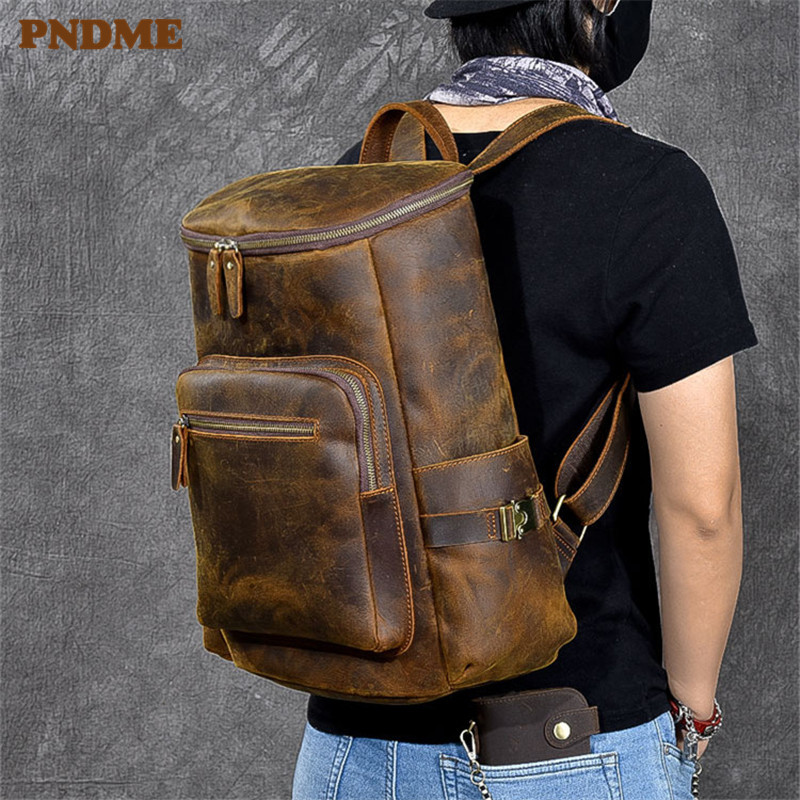 PNDME vintage crazy horse cowhide men's large capacity bucket backpack natural genuine leather outdoor travel laptop backpack