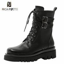 Prova perfetto sexy ankle boots feminino laço-up dedo do pé redondo com zíper-sid botas de fundo grosso 2020 outono couro genuíno botas mujer
