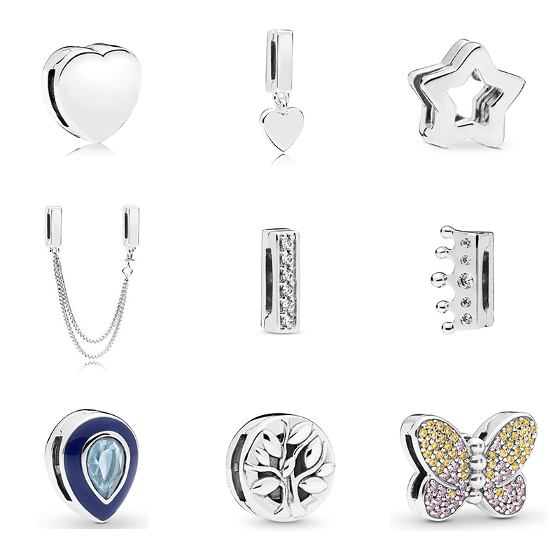 2019 New Original 925 Sterling Silver Reflections Dazzling Clip Stopper Charms Beads Fit Pandora Bracelet DIY Women Jewelry(China)