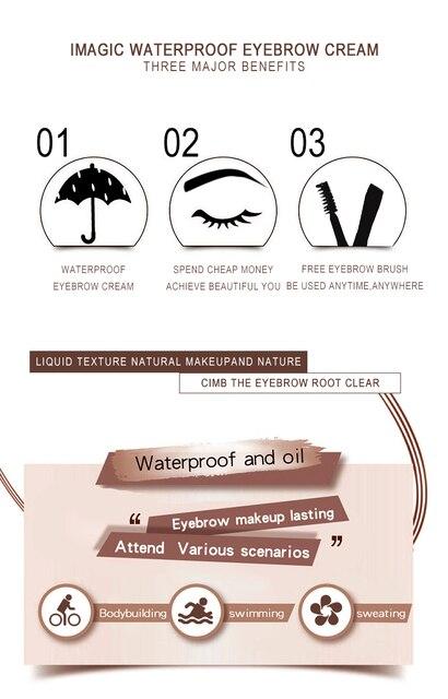 IMAGIC 6 Color Eyebrow Tint Makeup Waterproof Eyebrow Pomade Gel Enhancer Cosmetic Eye Makeup Eye Brow Cream 4