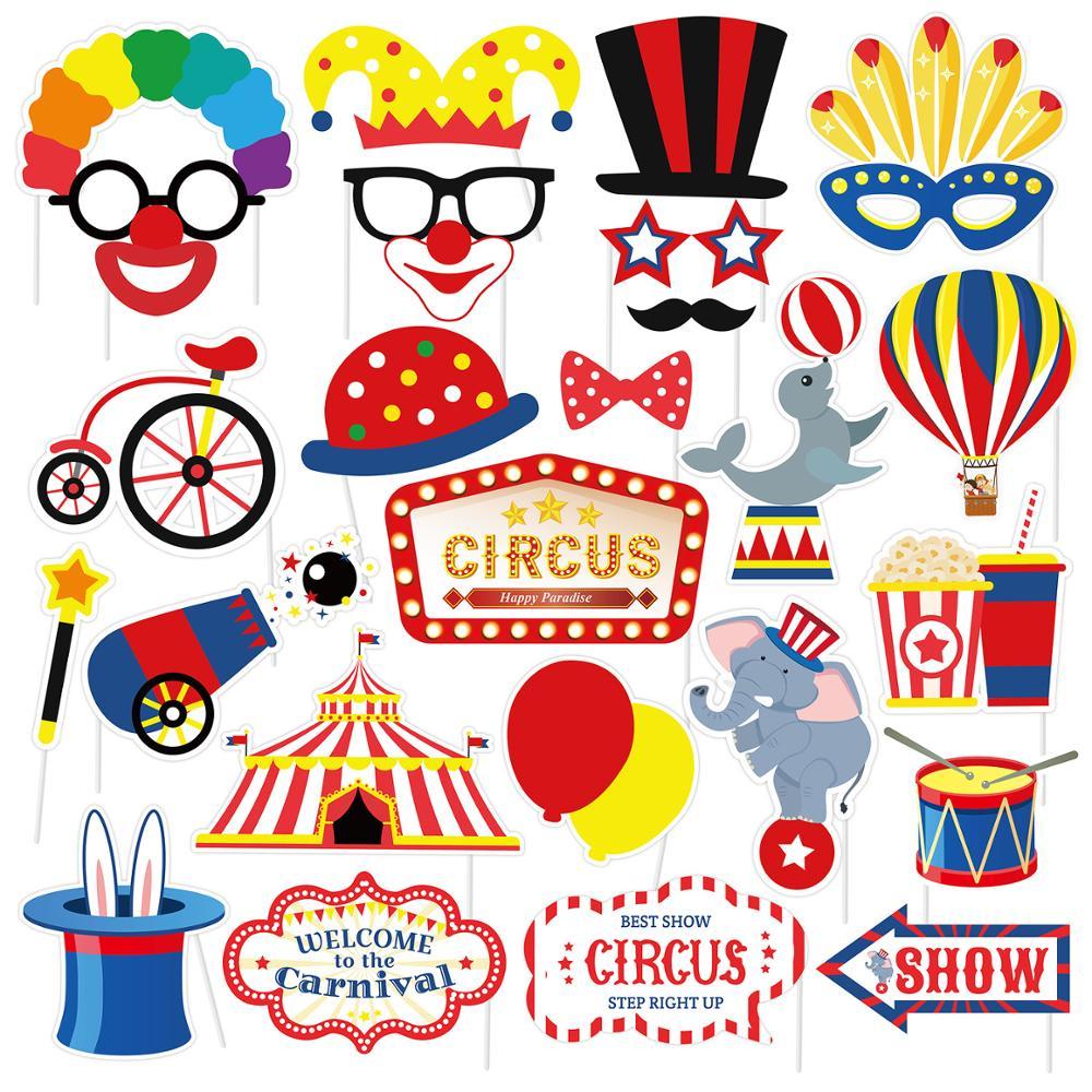 27 шт. клоун ко дню рождения; Реквизит для фотокамер; С капюшоном с изображением DIY веселые цирк в стиле «Джокер» Фотокабины реквизит на палоч...
