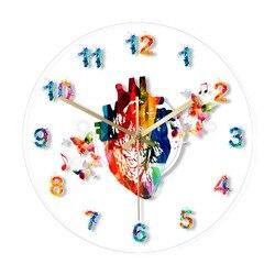 Kalp tasarım anatomi suluboya resim baskı akrilik duvar saati tıbbi ofis sanat dekoru kardiyovasküler sanat duvar saati