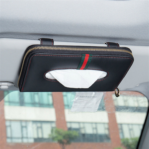 Image 3 - Yüksek kaliteli araba oto güneşlik doku kutusu kağıt peçete tutucu iç aksesuarları havlu asılı tipi deri Patere lüks