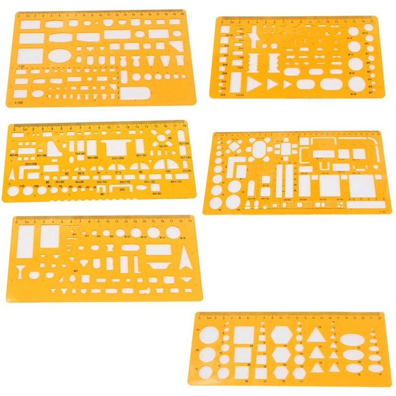 6 PCS Drawing Templates Measuring Rulers Geometric Templates Stencils for Office, School