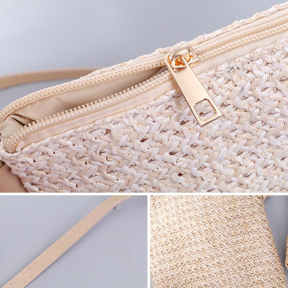 Модная женская соломенная сумка летняя пляжная тканая через
