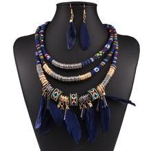 Women Feather Pendant Multi Layers Tribal Bib Necklace Statement Earring Jewelry Set