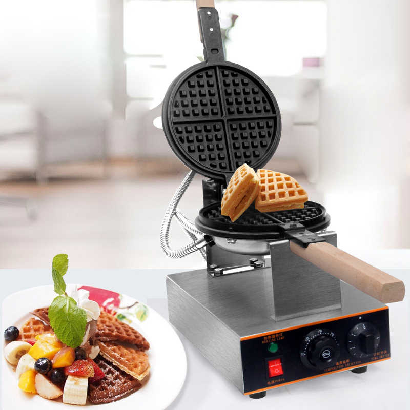 Electric Waffle Maker Commercial Egg Waffle Iron Double-sided Heating Sandwich Maker Single Head Rotation Bubble Cake Maker Oven