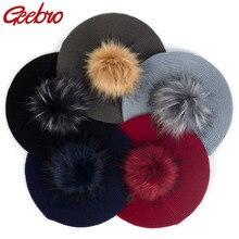 Зима-осень, женские модные шапки с искусственным мехом, помпон, громоздкий вязаный Французский Берет для художника, одноцветные шапки с помпонами