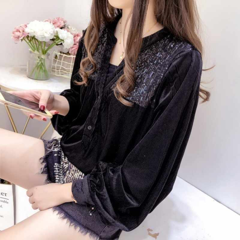 Fashion 2020 Hitam Manik-manik Mengatasi Kemeja Musim Gugur Wanita Vintage Longgar Lengan Panjang Elegan Kantor Wanita Atasan Kemeja Streetwear M L