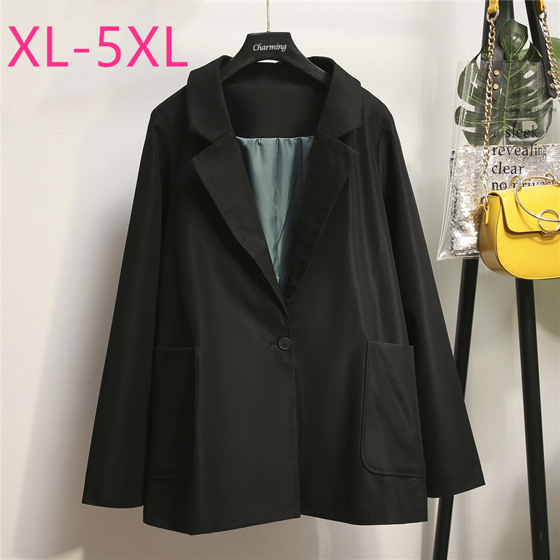 2020 New Spring Autumn Plus Size Blazers For Women Large Long Sleeve Loose Cotton Casual Blazer Coat Black 3XL 4XL 5XL