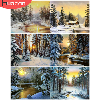 HUACAN Paint By Number Forest Hand Painted Painting Winter DIY Pictures By Numbers Landscape Kits Drawing On Canvas Home Decor
