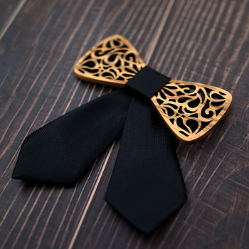 Girl's Carved Wooden Bow Tie 5