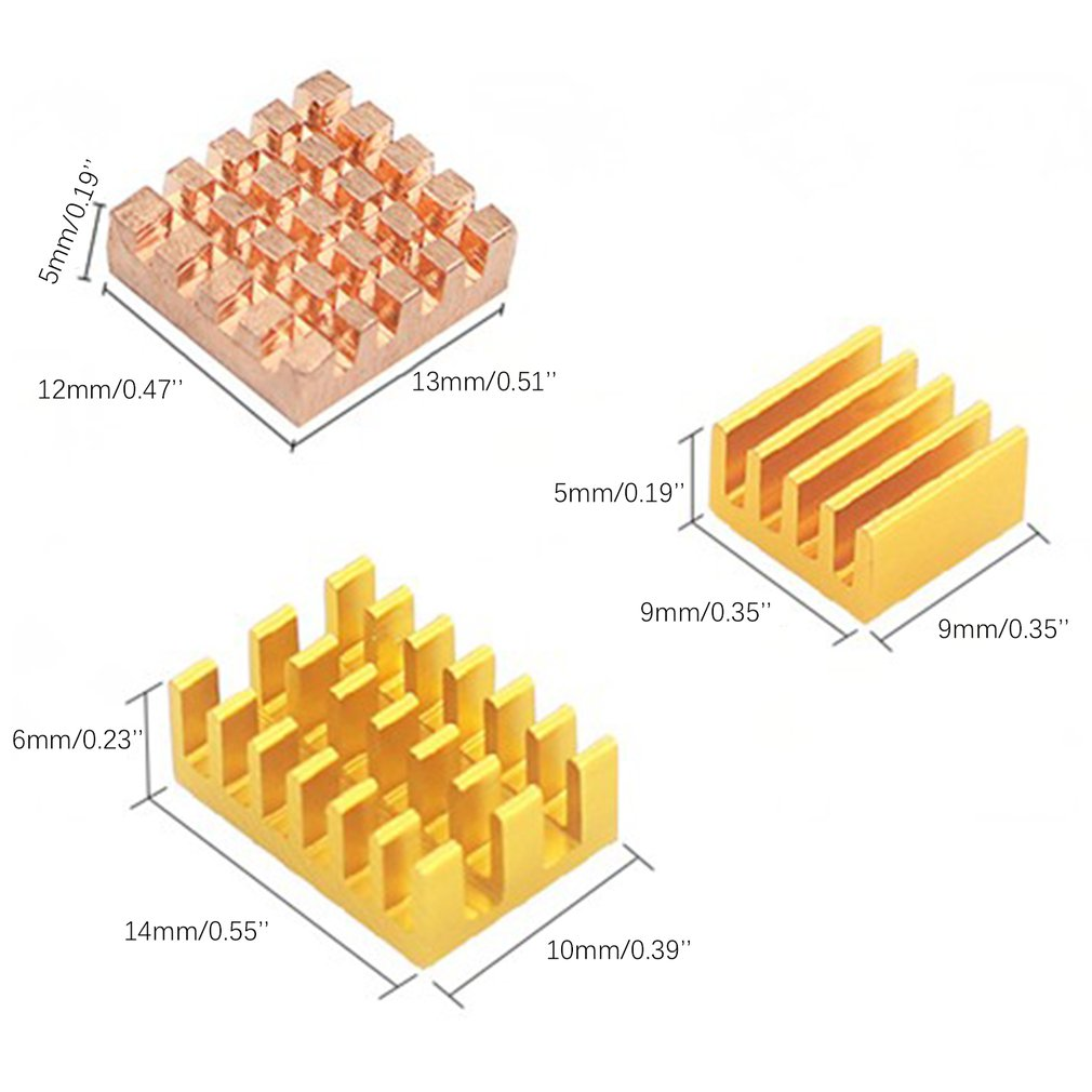 Ceramic Heat sink Cooler with Thermal Adhesive Pads for Raspberry Pi
