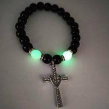 Luminous Natural Volcanic Stone Bracelet Fashion Glow In The Dark Cross Beaded Classic Handmade Jewelry Men Women Gifts