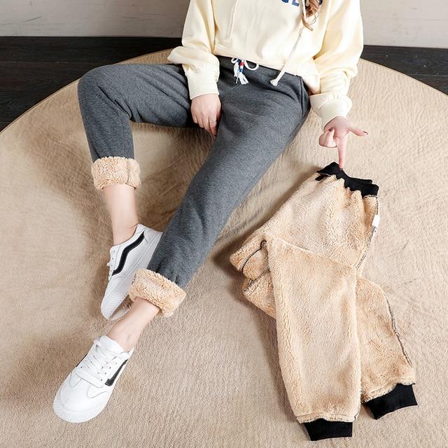 Women Winter Thick Lambskin Cashmere Pants Warm Female Casual Cotton Pants Loose Harlan Long Trousers Plus Size S-5XL 3XL 4XL 5