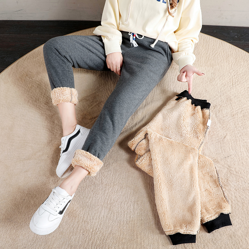 Women Winter Thick Lambskin Cashmere Pants Warm Female Casual Cotton Pants Loose Harlan Long Trousers Plus Size S-5XL 3XL 4XL