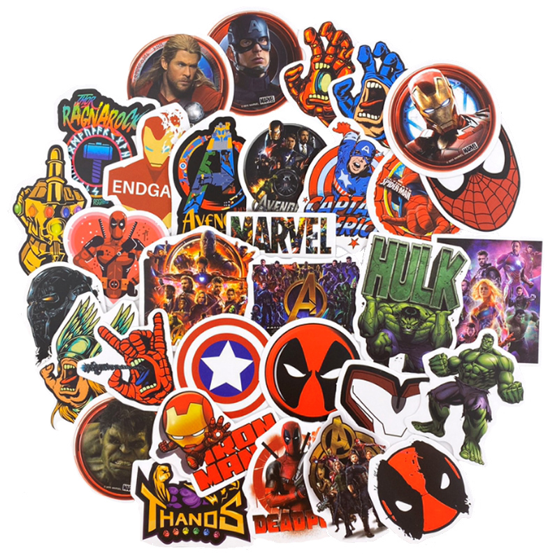 50pcs Marvel  Graffiti  Stickers High Quality Waterproof PVC Sticker For Luggage Laptop Motorcycle Decals