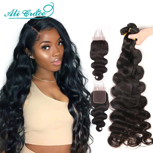 30 Inch Body Wave Bundles With Closure Ali Grace Hair Long Bundles With Lace Closure 10A Grade Body Wave Human Hair With Closure(China)