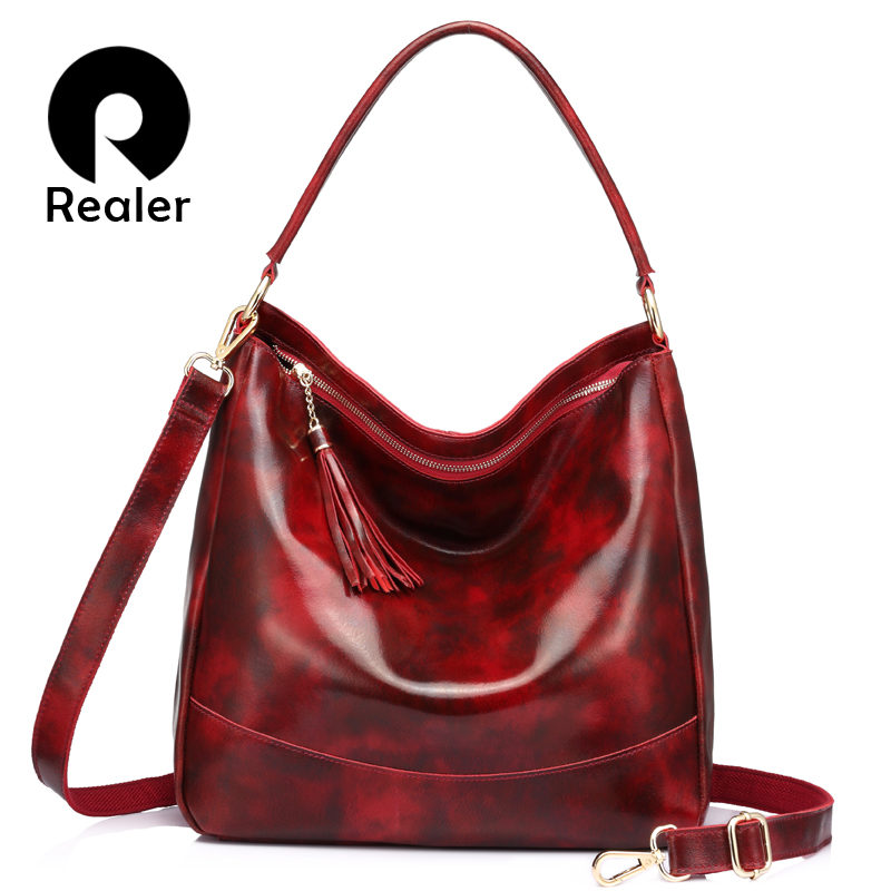 REALER Women Handbags Genuine Leather Cross-body Shoulder Bags Female Large Hobos Totes Messenger Bags For Ladies High Quality