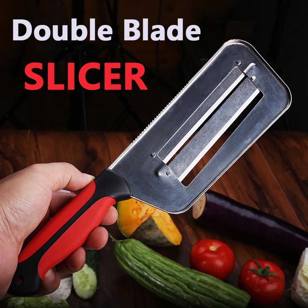 SHUOJI овощерезка двойная 2 ломтика нож для нарезки рыбы Весы чистящие ножи капуста огурец морковь лук слайсер овощечистка