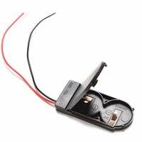 Venta al por mayor 1 unids/lote espera 2x CR2032 botón moneda batería funda, soporte de almacenamiento de caja negra 6V de plomo de alambre de interruptor ON/OFF