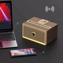 Oneshir V6 Vintage madera Textuxe Altavoz Bluetooth inalámbrico portátil FM Radio receptor 3D estéreo altavoces de ordenador de graves pesados