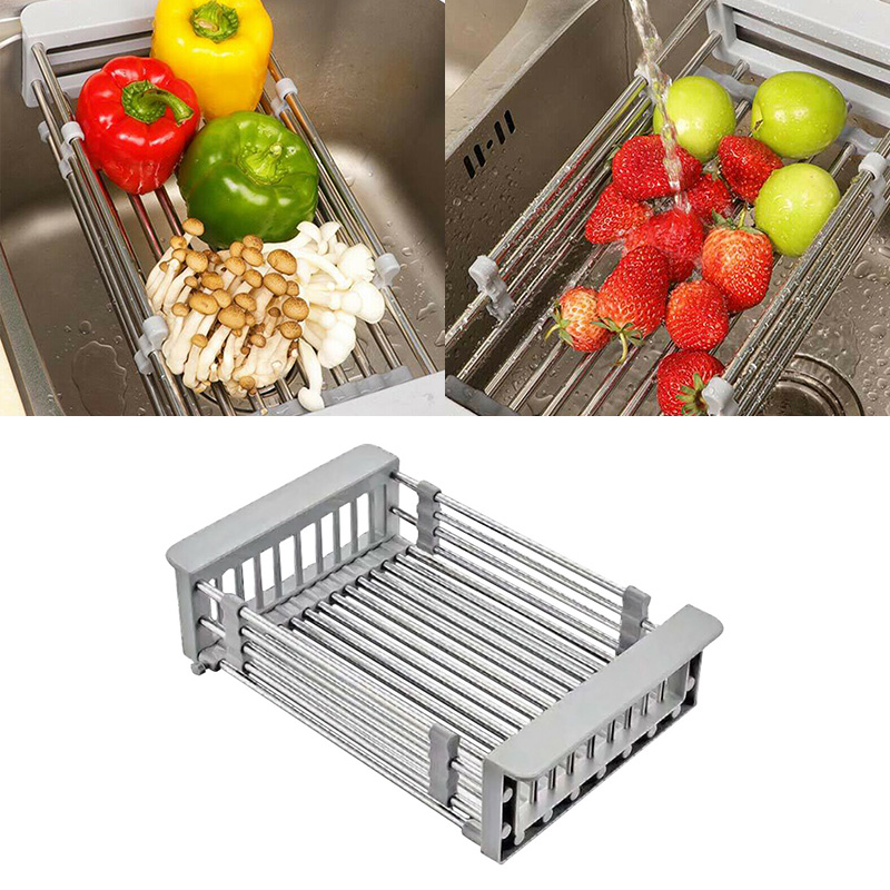 Retractable Stainless Steel Sink Strainer Drain Vegetable Fruit Drainer Basket Rack Storage Tool Sink Filter Rack Shelf
