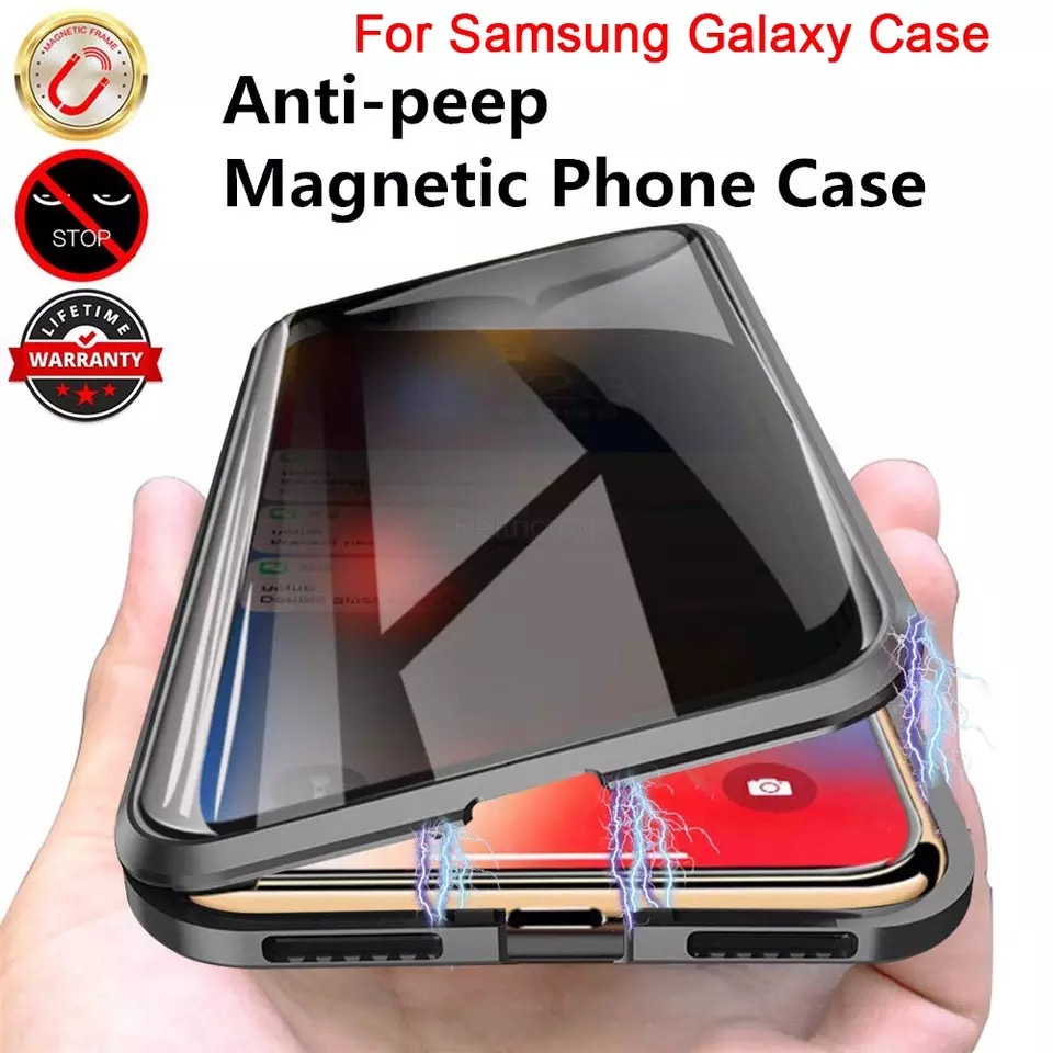Magnetic Metal Privacy Tempered Glass Phone Case For Samsung galaxy S10 S9 S8 Note 8 9 10 Plus For Samsung S20 Ultra S20
