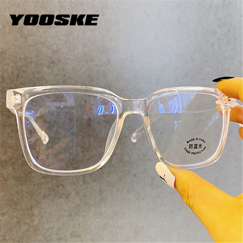 YOOSKE 2020 Anti Blue Light Glasses Frame Men Oversized Eyeglasses For Women Clear Optical Spectacles Computer Eyewear Unisex