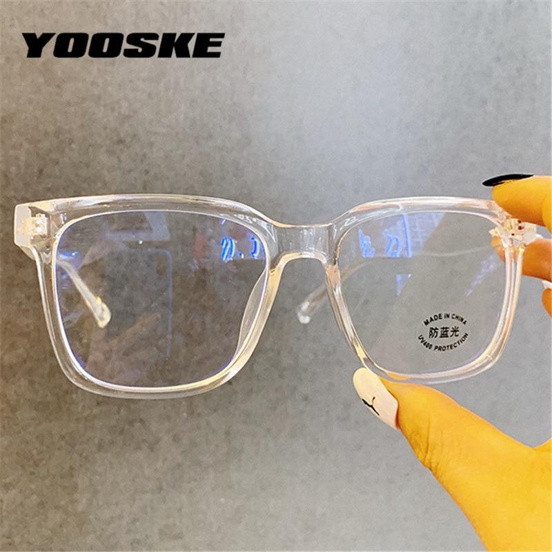 YOOSKE 2020 Anti Blue Light Glasses Frame Men Oversized Eyeglasses For Women Clear Optical Spectacles Computer Eyewear Unisex