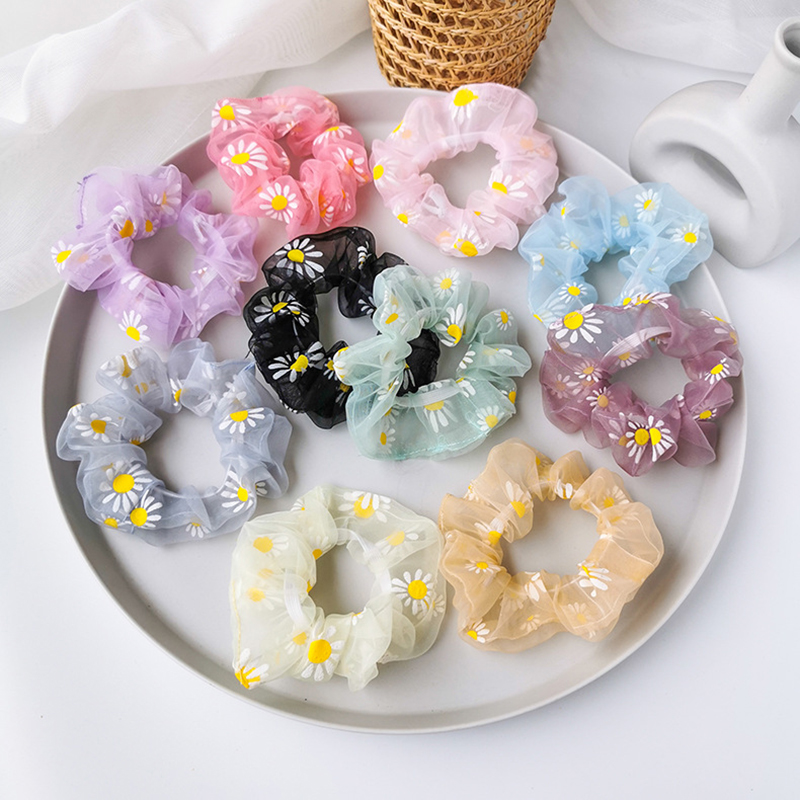 Floral Scrunchies Hair-Accessories Hairbands Ponytail Rubber Daisy Elastic Transparent