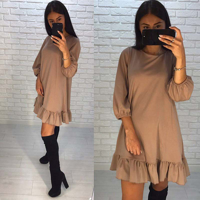 Summer Women Dress Fashion Vintage Patchwork Party Dress Casual Solid  Three Quarter O-neck  A- Line Women Sexy Dresses 3