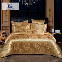 Liv-Esthete Luxury Golden Flower Euro Bedding Set Silky Duvet Cover Healthy Skin Pillowcase Double Flat Sheet Bed Linen