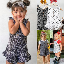 Romper Baby Kids Polka Dot Suspenders Sleeveless Romper Jumpsuits Outfits 2020 Newest Summer Toddler Girl Clothes cute newborn baby girl romper clothes 2017 summer polka dot tassel romper baby bodysuit headband 2pcs outfits sunsuit