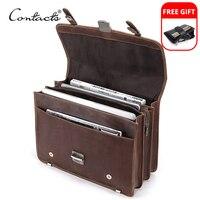 CONTACT'S Men's Bag Crazy Horse Leather Briefcase Men Business Bag For 14 1