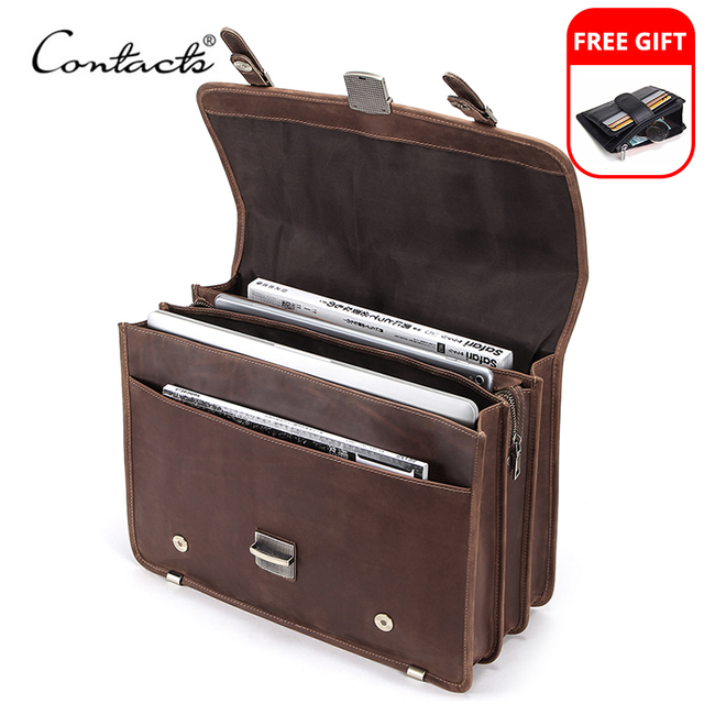 CONTACT'S Men's Bag Crazy Horse Leather Briefcase Men Business Bag For 14 1