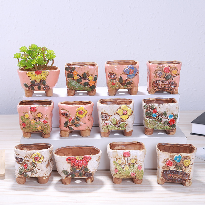 1 PCS Creative Small Fresh Cute Flower Pot Hand-painted With Flower Pots Ceramic Pottery Flower Pots Gardening Decoration Home