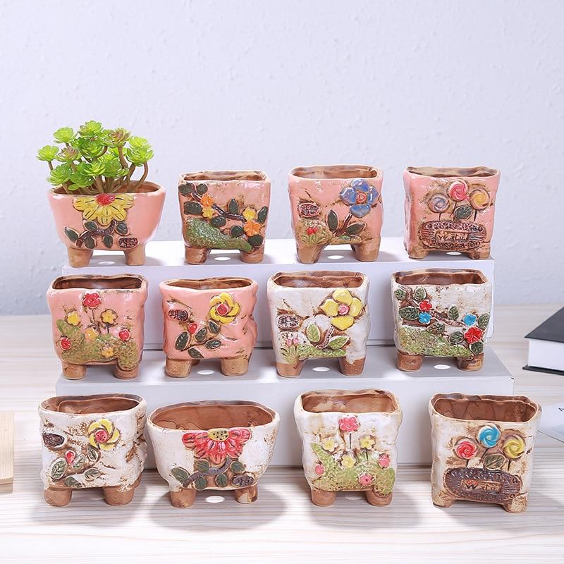 1 PCS Creative Small Fresh Cute Flower Pot Hand painted with Flower Pots Ceramic Pottery Flower Pots Gardening Decoration Home|Flower Pots & Planters| |  - title=