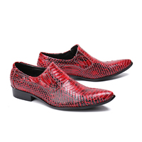 Ins Fashion Italian Mens Shoes 47 Pointed Toe Men's Snakeskin Leather Business Formal Dress Shoes Gorgeous Red Men Wedding Shoes