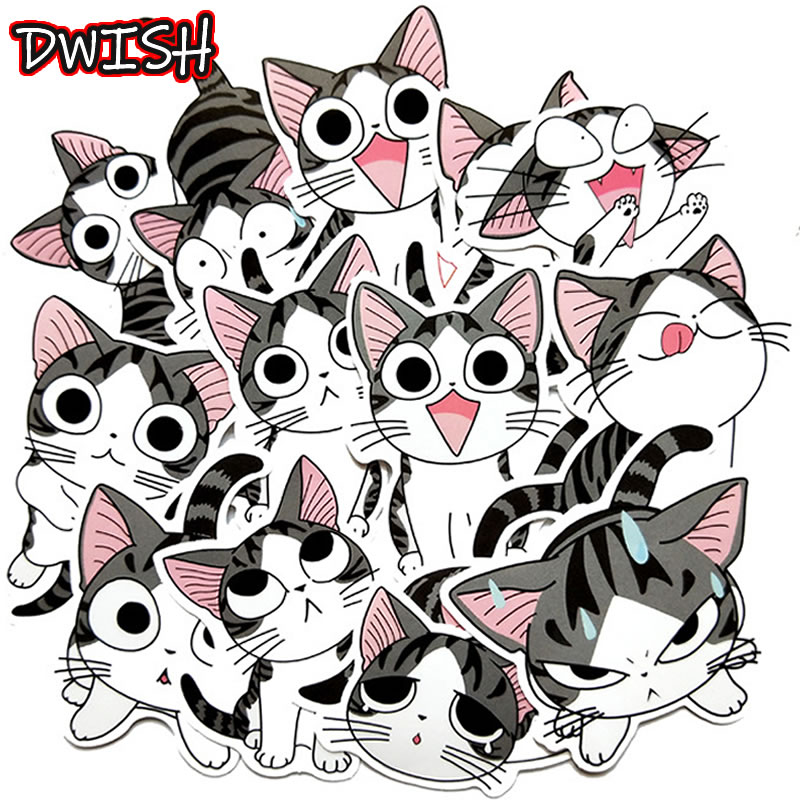 14pcs Cartoon Anime Cat Girl Stickers Waterproof PVC Laptop Guitar Luggage Motorcycle Skateboard Funny Graffiti Sticker Kids Toy