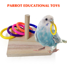 Cage Playground Wooden Bird Parrot Chew-Toy Foraing Intelligence Indoor-Activity