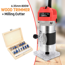 Electric Hand Wood Trimmer Wood Router 6.35mm Collet Carving Machine + Router Bits Milling Cutter Woodworking Power Tools