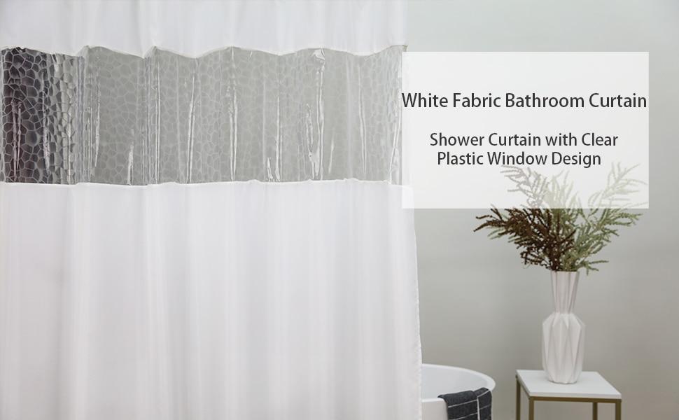 UFRIDAY Fabric Shower Curtain See-Through Window Design and Treat Waterproof