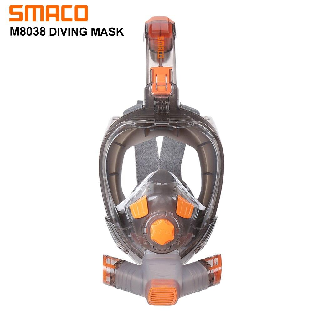 Smaco Underwater Scuba Snorkeling Anti Fog Full Face Diving Mask Snorkeling Respiratory Masks Safe Waterproof Swimming Equipment