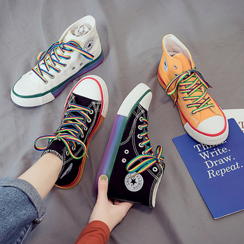 цены High-top canvas shoes ladies 2020 summer sneakers color matching flat shoes fashion casual shoes rainbow vulcanized shoes
