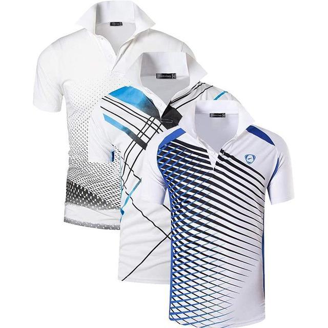Jeansian Polo de Sport manches courtes pour homme, lot de 3 pièces, pour Golf, Tennis, Badminton, adapté sec, LSL195/PackG