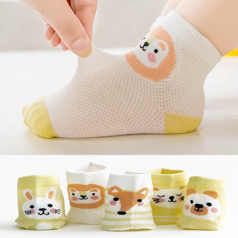 5 Pairs/Lot Children Soft Cotton Socks Boy Girl Baby Cute Cartoon Mesh For 0-7Y Spring Summer Fashion Newborn Infant Kids