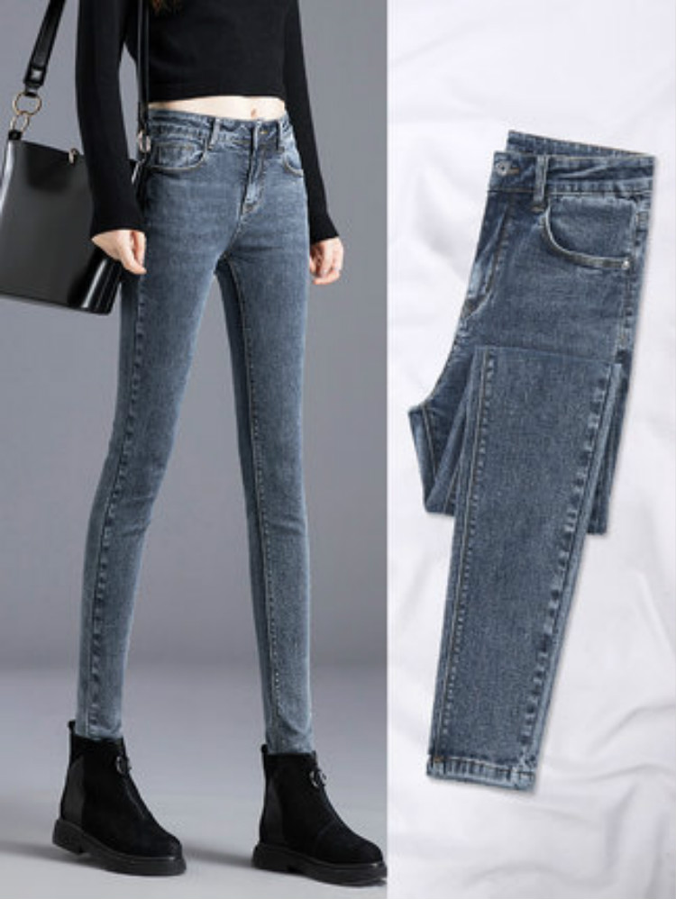 2019 Spring Autumn High Waist Jeans Women Blue Skinny Pencil Pants Slim Trousers Female Denim Jeans Fashion Sexy Pant